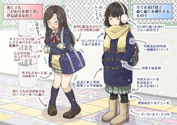 日本女生冬天真的是上身厚衣下身穿短裙、露大腿吗?